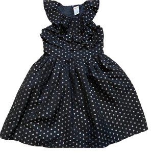 Gymboree Sz 5 Black Silver Polka Dots Party Dress